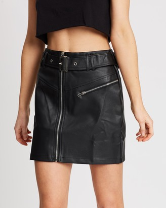 Missguided Faux Leather Buckle Detail Mini Skirt