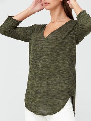 Very Snit V-Neck Slouchy Tunic - Khaki