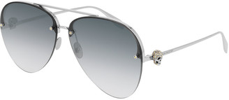 Alexander McQueen Semi-Rimless Metal Aviator Sunglasses