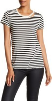 Pam & Gela Short Sleeve Slash Striped Crew Neck Tee
