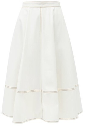 Alexander McQueen Topstitched Flared Denim Skirt - Ivory