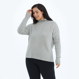 Summersalt The Luxe Cashmere Blend Funnel Neck Sweater - Wolf