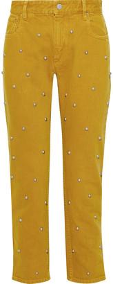 Etoile Isabel Marant Fliffa Cropped Studded High-rise Straight-leg Jeans