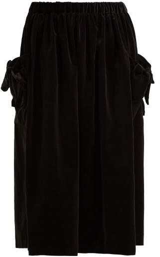 Comme des Garcons Bow Trim Velvet Midi Skirt - Womens - Black