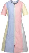 Thom Browne Funmix Grosgrain-Trimmed Color-Block Cotton-Oxford Dress