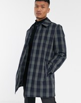 Asos DESIGN trench coat in blue check