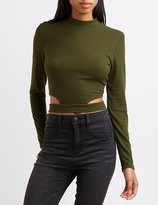 Charlotte Russe Ribbed Cut-Out Crop Top
