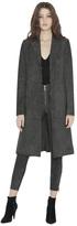 Alice + Olivia Charcoal Logan Suede Collar Midlength Coat