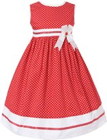 Richie House Girls' Summer Dress with White Dots and Ribbon RH0317-A-11/12