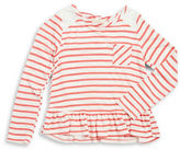 Soprano Girls 7-16 Striped Lace-Trim Ruffled Long-Sleeve T-Shirt