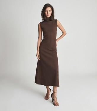Reiss Alyssa - Open Back Midi Dress in Chocolate