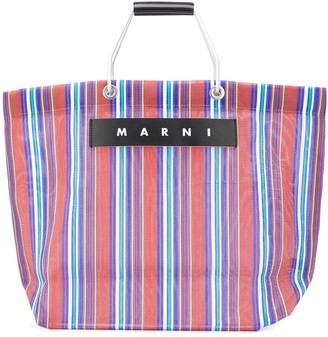 Marni Market Striped Woven Tote Bag
