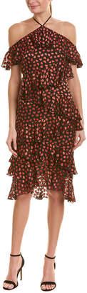 Alice + Olivia Off-The-Shoulder Silk-Blend Midi Dress