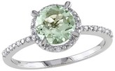 Allura 1 1/6 CT. T.W. Round Green Amethyst and .05 CT. T.W. Diamond Ring in Sterling Silver (GH I3)