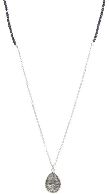 Nunu Long Beaded and Teardrop Pendant Necklace (Black Tourmilated & Black Spinel/Silver) - Jewelry