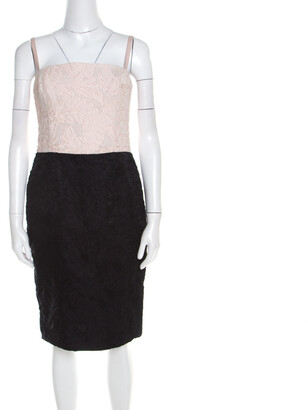 Escada Bicolor Floral Jacquard Cotton Silk Doren Corset Dress M