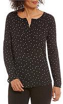 Gibson & Latimer V-Neck Long Sleeve Star Print Blouse