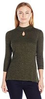 NY Collection Women's Petite 3/4 Sleeve Mock Neck Pullover