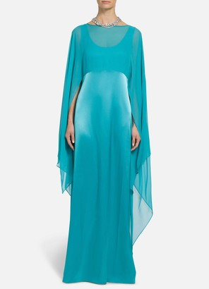 St. John Liquid Satin Cape Overlay Dress