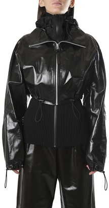 Bottega Veneta Shiny Leather Jacket With Knitted Gardigan