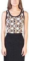 Prada Women's Viscose Silk Blend Geometric Print Tank Top Shirt Beige.