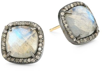 Nina Gilin 14K Black Rhodium Silver, Champagne Diamond & Labradorite Stud Earrings