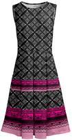 Lily Women's Casual Dresses BLK - Black & Pink Quatrefoil Stripe Pleated Fit & Flare Dress - Women & Plus
