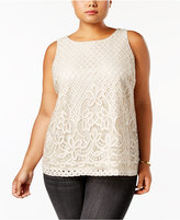 Charter Club Plus Size Lace Blouse, Created for Macy's