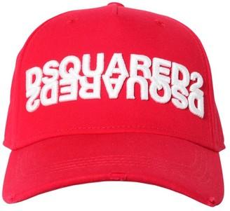 DSQUARED2 Mirror Logo Cotton Canvas Baseball Hat