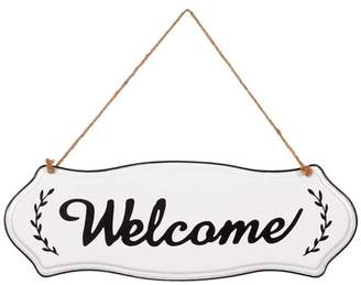 Patton Wall Decor Hand Painted Welcome Tin Enamel Wall Sign with Jute Rope Off White/Black
