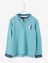 Boys Long-Sleeved Polo Shirt - jade green, Boys | Vertbaudet
