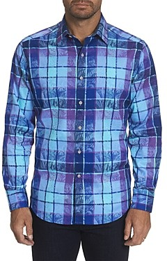 Robert Graham Prototype Cotton-Blend Windowpane Check Botanical Jacquard Classic Fit Button-Up Shirt