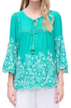 Fever Tie Neck Boho Blouse with Embroidery and Faggoting
