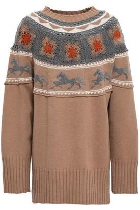 Alberta Ferretti Crochet-paneled Embellished Jacquard-knit Sweater