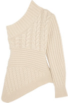 Burberry One-shoulder Cable-knit Cashmere Sweater - Ivory