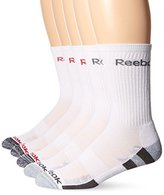 Reebok Men's 5 Pack Performance Crew Striped Foot Bed Sock (Blue)