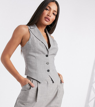 Asos Tall ASOS DESIGN Tall mansy 3 piece suit suit vest in taupe texture