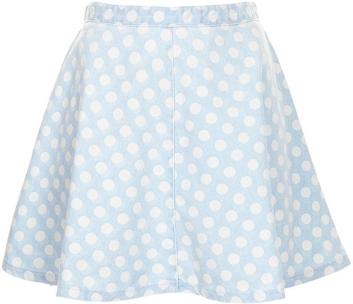 Topshop MOTO Bleach Spot Denim Skirt
