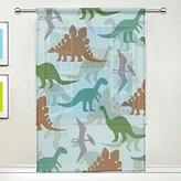 "WOZO Cute Dinosaur Green Window Sheer Curtain Panels 55""x 84"", 1-Piece Colorful Animal Modern Window Treatment Panel for Children Kids Home Living Dining Room Playroom Decoration"