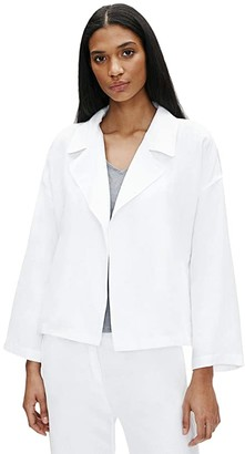Eileen Fisher Drape Front Jacket (White) Women's Clothing