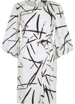 River Island Wowhite Abstract Print Puff Sleeve Swing Dress