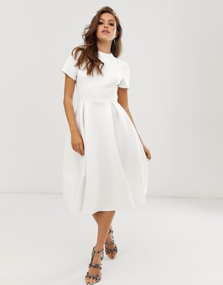 Asos Design DESIGN T-Shirt open back prom midi dress-White