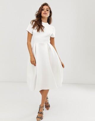 ASOS DESIGN T-Shirt open back prom midi dress