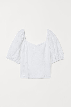 H&M Eyelet Embroidery Blouse - White