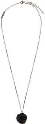 Valentino Silver Garavani Black Rose Necklace