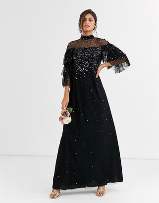 Maya Bridesmaid delicate sequin tulle maxi dress in black