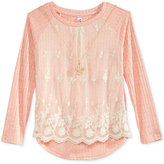 Beautees High-Low Lace-Front Top, Big Girls (7-16)