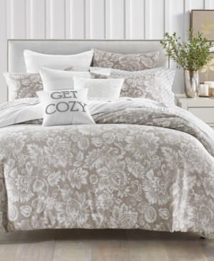 Charter Club Damask Designs Jacobean Cotton 300-Thread Count 3-Pc. Full/Queen Duvet Cover Set, Created for Macy's Bedding