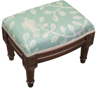 Copper Grove Castletown Aqua Blue Upholstered Wood Footstool with Bird Accents