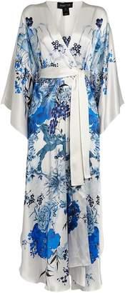 Meng Floral Silk Long V-Neck Kimono